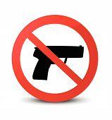picture of crossed pistols  - no gun mark on white background vector illustration - JPG