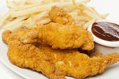 pic of greased  - Organic Crispy Chicken Strips on a background - JPG