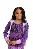 foto of cornrow  - isolated Young black child wearing purple outfit - JPG