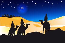 stock photo of desert christmas  - an illustration for christmas day - JPG