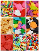 stock photo of jimmy  - Collection of Cake Sprinkles with Jimmies Stars Hearts Balls and Dino as Background - JPG