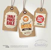 stock photo of reduce  - Vintage Style Sale Tags Design - JPG