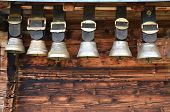 stock photo of edelweiss  - Traditional Swiss cowbells - JPG