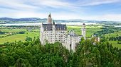 Picturesque landscape with the Neuschwanstein Castle.