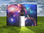image of storybook  - Book with science fiction scene and open doorway of light - JPG