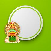 foto of onam festival  - South Indian festival Onam wishes background with Kathakali dancer - JPG