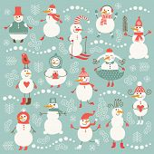 Set of cute snowman