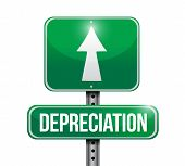 stock photo of depreciation  - depreciation road sign illustration design over white - JPG