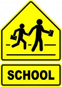 image of precaution  - school students crossing sign - JPG