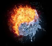 stock photo of fiery  - Yin Yang symbol made of water and fire - JPG