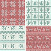 stock photo of pullovers  - A set of traditional christmas knitted Scandinavian seamless patterns - JPG
