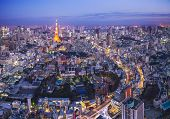 stock photo of minato  - Tokyo cityscape with Tokyo Tower - JPG