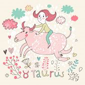foto of bull-riding  - Cute zodiac sign  - JPG
