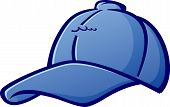 image of softball  - A simple illustration of a cartoon blue baseball cap - JPG