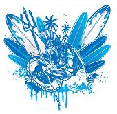 image of poseidon  - poseidon surfer blue ink  with surfbord vector - JPG