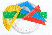 stock photo of protractor  - A set of colored triangles and lines protractors for drawing - JPG