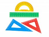 School Tools Triangle, Ruler, Protractor. Close-up.