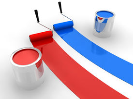 foto of paint pot  - Red and blue paint curves on white surface - JPG
