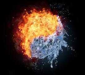 pic of yin  - Yin Yang symbol made of water and fire - JPG
