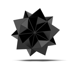 image of tetrahedron  - Abstract black shape isolated on a white background - JPG