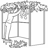 pic of sukkot  - A vector illustration coloring page of a Jewish guy standing on a stool and building a Sukkah for the Jewish holiday Sukkot - JPG