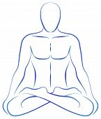 foto of tantra  - Illustration of a meditating person in yoga position - JPG