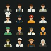 foto of fireman  - People icon professions icons worker set eps10 vector format - JPG