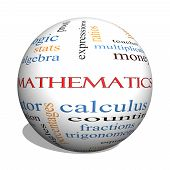 stock photo of fraction  - Mathematics 3D sphere Word Cloud Concept with great terms such as fractions algebra calculus and more - JPG