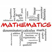 foto of fraction  - Mathematics Word Cloud Concept in red caps with great terms such as fractions algebra calculus and more - JPG