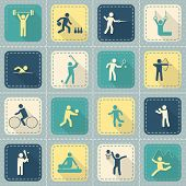 stock photo of lint  - Decorative swimming boxing weightlifting rhythmic gymnastics sport symbols patch style icons set flat isolated vector illustration - JPG