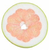 stock photo of pomelo  - slice of pomelo isolated on white background - JPG
