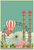 stock photo of amusement park rides  - illustration with urban amusement park with rides and circus - JPG