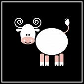 stock photo of oxen  - Illustration of chinese zodiac sign Ox on the black background - JPG