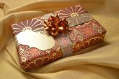 stock photo of deepavali  - An empty tag on a decorative gift box - JPG