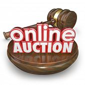 picture of bartering  - Online Auction 3d words wood block gavel closing bidding internet online website marketplace - JPG