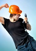 Workman Screaming On Phone