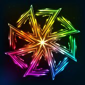 image of ohm  - Bright neon rainbow lights vector sun symbol - JPG