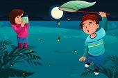 stock photo of fireflies  - A vector illustration of happy kids catching fireflies and put them in a jar - JPG