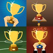 picture of plinth  - Set of four vector gold trophies or cups awarded for excellence  victory or winning in business  sport  a competition or contest with two held in hands  one trophy with a medal and one on a plinth - JPG