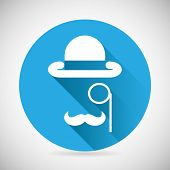 stock photo of bowler hat  - Gentleman Accessories Symbol bowler Hat Monocle Mustache Silhouette Icon Stylish Background Modern Flat Design Vector Illustration - JPG