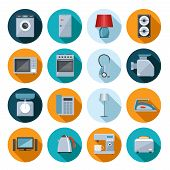 pic of machine  - Set of household appliances flat icons on colorful round web buttons with a washing machine  stove  fridge  speaker  iron  microwave  lamp  scale  phone  television  kettle  coffee machine and toaster - JPG