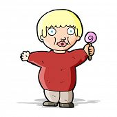 picture of obesity children  - cartoon fat child - JPG