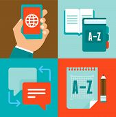 stock photo of interpreter  - VEctor flat trendy icons  - JPG
