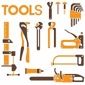 stock photo of valencia-orange  - vector of mechanical tools with orange and brown color theme - JPG