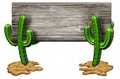 picture of southwest  - Cactus sign as two Cacti plants on a desert sand floor holding up an old rustic wood banner isolated on white as marketing and advertising symbol of hot dry weather and arid habitat found in southwest parts of north america as Texas and mexico - JPG