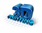 stock photo of manufacturing  - 3D printing concept with three dimensional text as a symbol of new print technology duplicating objects for product or prototype developmentusing industrial replicator robots and future manufacturing process - JPG