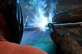 stock photo of welding  - Factory welder doing his job  - JPG