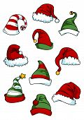 Постер, плакат: Clown joker and Santa Claus cartoon hats