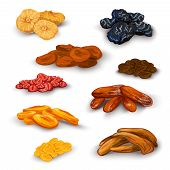 stock photo of apricot  - Sun dried fruit healthy nutritive food icons set with apricots raisins prunes figs abstract isolated vector illustration - JPG