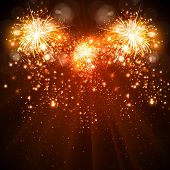 stock photo of happy new year 2014  - Happy New Year celebration background fireworks easy all editable - JPG